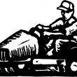 Man Mowing Grass on Ride Mower — Imagen vectorial
