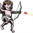 Vector de stock : Cupid Shooting Arrow