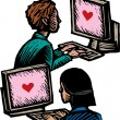 Computer Dating — Stok Vektör
