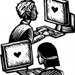 Computer Dating — Vektorgrafik