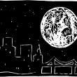 Full Moon Over the City — Imagen vectorial