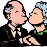 Senior Couple Kissing — Stock Vector