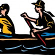 Man and Woman Canoeing — Stock Vector