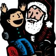 Little Boy Sitting on Santa Claus' Lap — Imagen vectorial