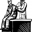 Woman Doctor Examining Senior Man — Imagen vectorial