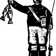 ストックベクタ: Woodcut Illustration of Fisherman