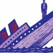 Stock Vector: Sinking Ship