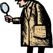 Stock Vector: Police Detective with Magnifying Glass