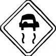 Vector Illustration of Slippery When Wet Road Sign — Stock Vector