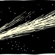 Woodcut Illustration of Comet — Vettoriale Stock #30504189