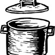 Woodcut Illustration of Stockpot — Stock Vector