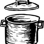 Woodcut Illustration of Stockpot — Stock Vector