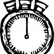 Woodcut Illustration of Stop Watch — Stok Vektör