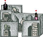 Office romance — Stok Vektör