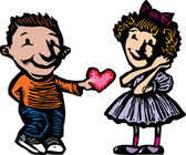 Little Boy Giving Girl Valentine — Stock Vector