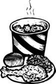 Fried Chicken Dinner in a Bucket — Stock Vector