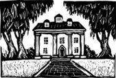 Woodcut Illustration of Southern Plantation — Stock Vector