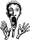 Ilustración de xilografía de hombre gritando de miedo — Vector de stock