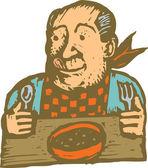 Старший человек ест суп на обед или ужин — Cтоковый вектор