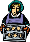 Senior Woman Baking Cookies — Stock Vector