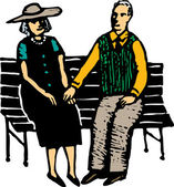 Senior Couple Holding Hands on Park Bench — Stock Vector
