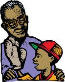 Father or Grandfather Giving Boy a Baseball Glove — Stock Vector