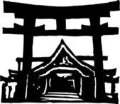 Ilustração em vetor de xintoísmo santuário — Vetorial Stock