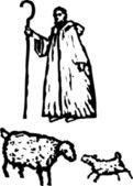 Shepherd with Sheep — Stock Vector