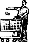 Ilustración de xilografía de shopper — Vector de stock