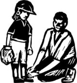 Father or Coach Tying Child's Shoe at Baseball Game — Stock Vector