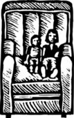 Vector Illustration of Kids Sitting on Chair — Stock Vector