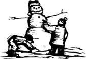 Vector illustration of Snowman — Stock Vector