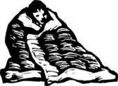 Vector Illustration of Boy Bundled Up in Blanket — Stock Vector