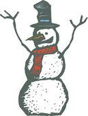 Ilustración de xilografía de muñeco de nieve — Vector de stock