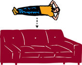 Man and Sofa Equals Nap — Stock Vector