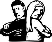 Evli çift savunarak — Stok Vektör