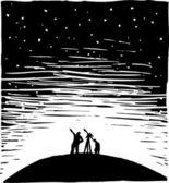 Woodcut illustration of Stargazing — Stock Vector