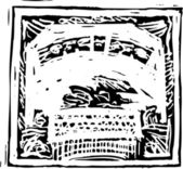 Woodcut Illustration of Stock Certificate — ストックベクタ