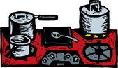 Träsnitt illustration av spishäll med kastruller och stekpannor — Stockvektor