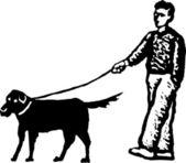 Woodcut Illustration of Man Walking Dog — Stock Vector
