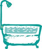 Ilustração em xilogravura de banheira e chuveiro — Vetor de Stock