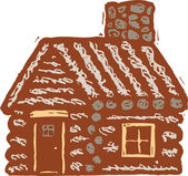 Woodcut Illustration of Log Cabin — Stock Vector