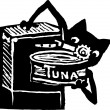 Cat Using Can Opener to Open Can of Tuna — Imagens vectoriais em stock