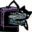 Cat Using Can Opener to Open Can of Tuna — Imagen vectorial