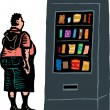 Overweight Teen Boy in Front of Junk Food Vending Machine — Stock Vector