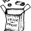 Vector de stock : Woodcut Illustration of Trick or Treat