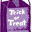 Stock Vector: Woodcut Illustration of Trick or Treat Bag