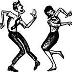 Woodcut Illustration of Man and Woman Dancing — Stock Vector #30557777