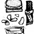 Vector de stock : Woodcut Illustration of Unhealthy Foods