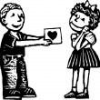 Woodcut Illustration of Boy Giving Girl Valentine Card — Imagen vectorial